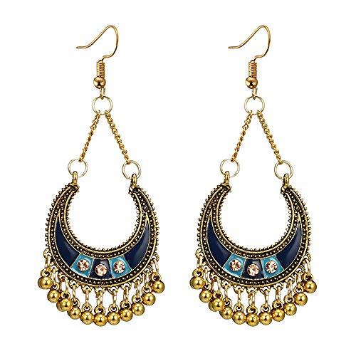 (Sinfu Women Vintage Bohemian Drops with Diamonds C-Curved Moon Basket Bells Long Tassel Earrings (F))