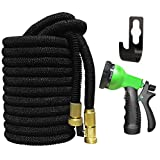 AliAlex Expandable Garden Hose Kit, Extra Strength Fabric with 8 Pattern Spray Nozzle Strongest Triple Latex Core Solid Brass Fitting Lightweight Flexible Watering Hose (75ft)