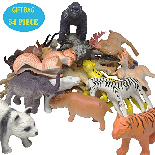 Farm Animal Figure (54 Pieces Animal Figure Set,Including Farms,Forests, Grasslands, Lakes Animals For Boys and Girl Kids Small Animals Toys)