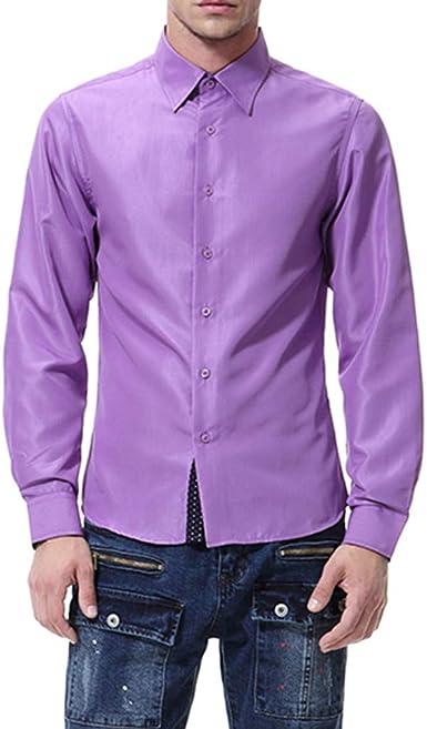 Camisa de manga larga para hombre, estilo casual morado XXL: Amazon.es: Ropa y accesorios