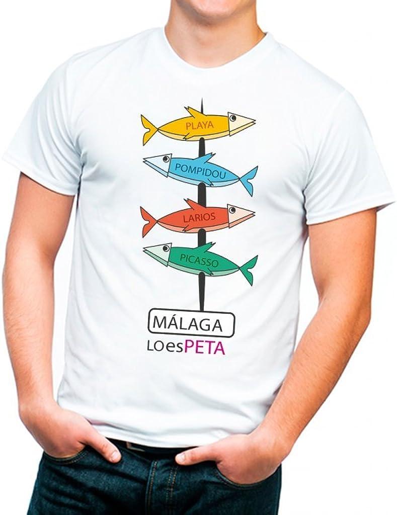 Camiseta Málaga Espeto Sardinas Señal de Monumentos - Talla L ...