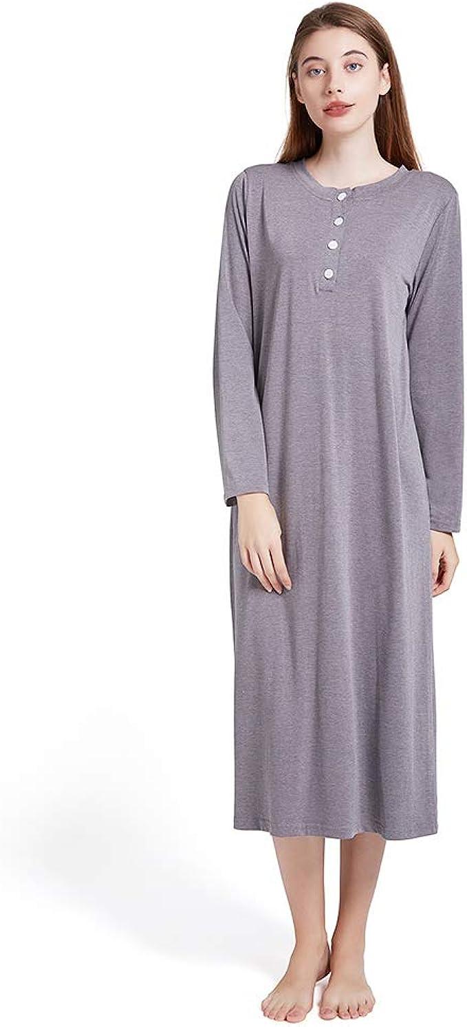 schickes Damen Nachthemd langer Arm Gr Baumwolle Schlafshirt M-XXXL