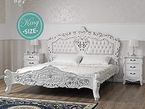 Cama matrimonial Diamond Estilo Rococo Moderno King Size Color Blanco Lacado Detalles Hoja Plata Eco-Piel Blanca Botones Swarovski: Amazon.es: Hogar