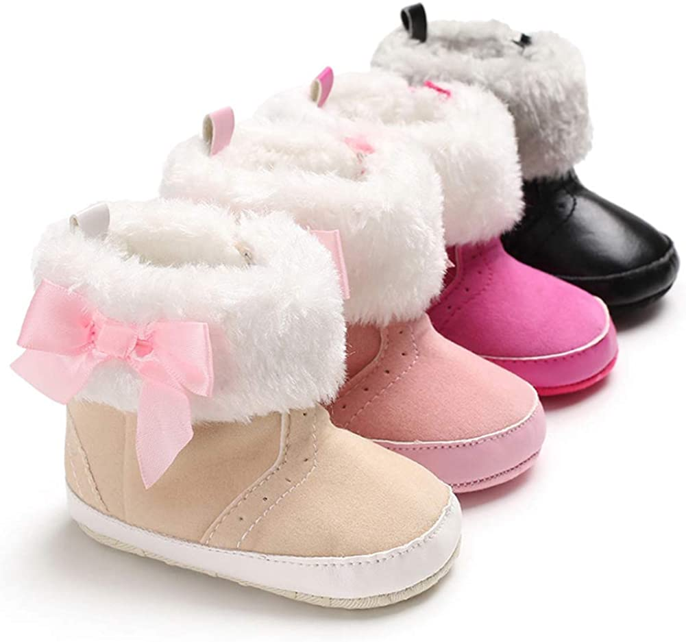 Pink 13cm Alamana Bowknot Plush Edge Baby Girls Soft Sole Winter Prewalker Toddler Shoes Boots