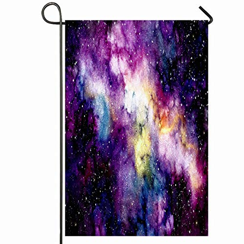 Ahawoso Outdoor Garden Flag 12x18 Inches Deep Blue Cosmos Watercolor Outer Space Stars Astral Nature Yellow Galaxy Splash Abstract Astrology Seasonal Home Decorative House Yard Sign ()