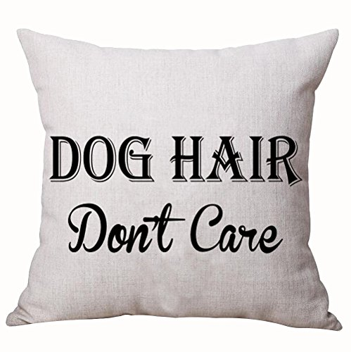 Designer Dog Pillow (Best Dog Lover Gifts Nordic Simple Warm Sweet Funny Sayings Dog Hair Don't Care Cotton Linen Decorative Home Office Throw Pillow Case Cushion Cover Square 18X18 Inches)