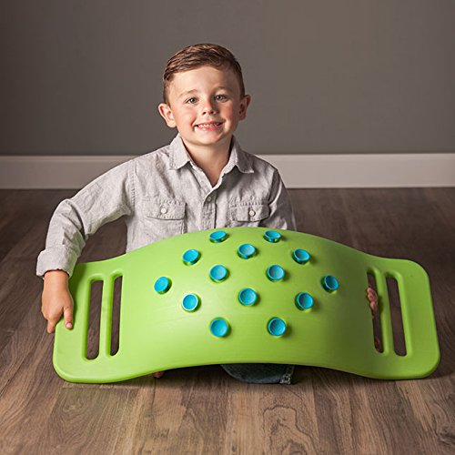 Fat Brain Toys Teeter Popper with Handles, Plastic Concave Balance Board for Children, Green by Fat Brain (Image #4)