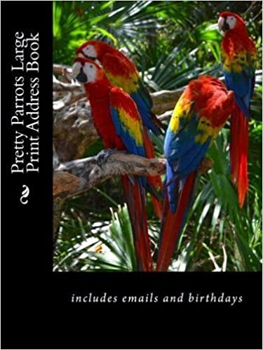 pretty parrots large print address book includes emails and