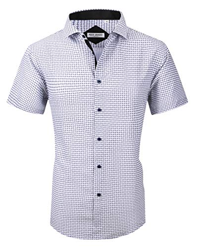 Joey CV Mens Short Sleeve Dress Shirts Regular Fit Cotton Casual Button Down Shirt(Navy1068,Small)