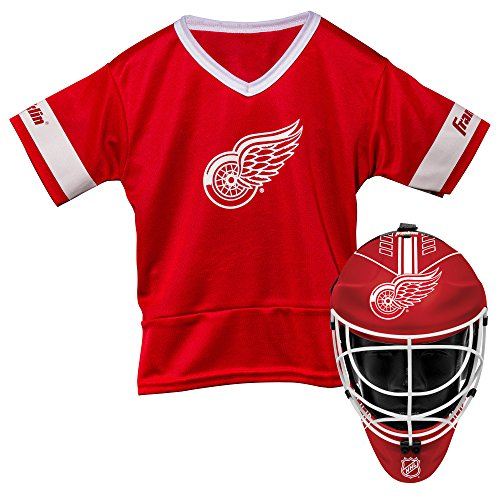 Franklin Sports Detroit Red Wings Kid's Hockey Costume Set - Youth Jersey & Goalie Mask - Halloween Fan Outfit - NHL Official Licensed Product]()