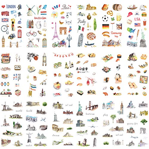 Travel Washi Paper Stationery Sticker Set (Assorted 18 Sheets) Famous Landscape Telephone Booth Tower Japanese Cuisine Castle Bridge Building Adhesive Label for Craft Handmade DIY Scrapbooking Journal
