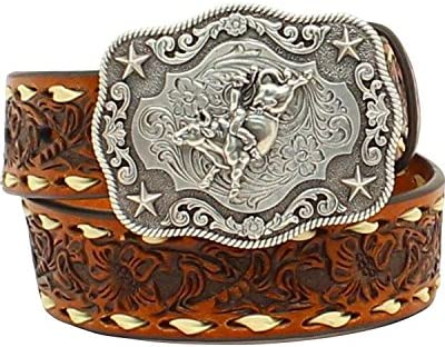 Nocona Boots Boys Boys Brown Floral Tooled BeltBuckstitching and Buckle 28 Tan
