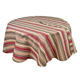 R.LANG Outdoor Waterproof Tablecloth 60 x 84-inch Zipper Tablecloth for Outdoor Use With Umbrella Covered Tables Brown/Wine Red