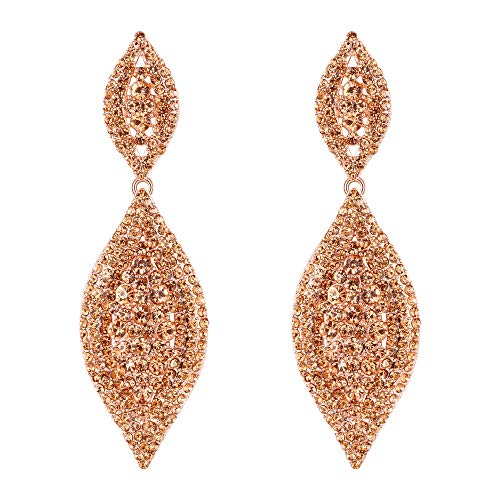 Flyonce Women's Stunning Austrian Crystal Wedding Bridal Dangle Drop Earrings Rose Gold-Tone Champagne
