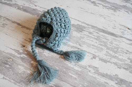 Dusk Blue/Gray Bump Bonnet Newborn Baby Hat Photography Prop, Baby Props, Newborn Prop, Photo Props, Handmade Hat, Photography Props, Hats