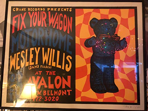 - Wesley Willis, Motorhome Chicago Avalon 1994 Concert Poster, Rare, Silkscreen, Steve Walters