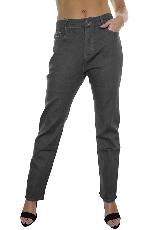 (1387) Plus Size Stretch Denim Jeans Grey Silver Bead Detail
