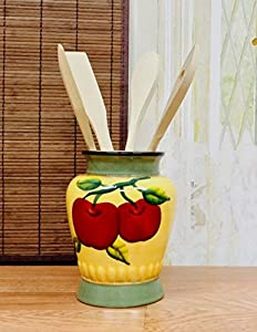Amazon.com: Kitchen utensil holder w/ caddy tools apple harvest ...