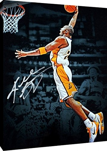 sale retailer 9272a b666c Amazon.com  Canvas Wall Art  Kobe Bryant Dunk Los Angeles Lakers Autograph  Replica Print (24x36)  Posters   Prints