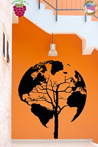 Wall Vinyl Stickers World Map Earth Tree Unusual Decor For Living Room (z2076m) 28.5 in by 35.5 in