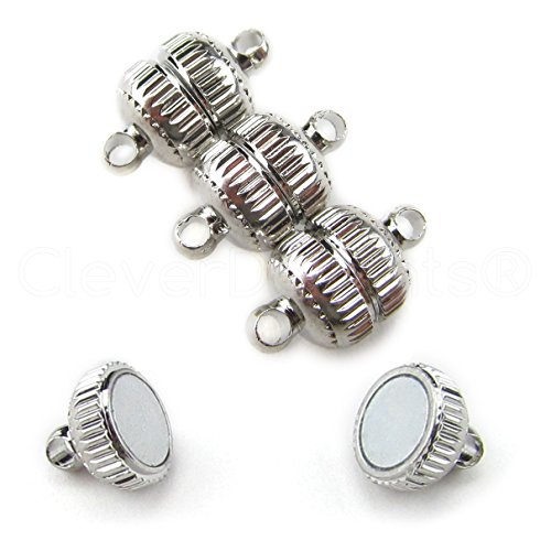 20 CleverDelights Magnetic Jewelry Clasps - Deco Drum Style - Platinum (Antique Silver) Color ()