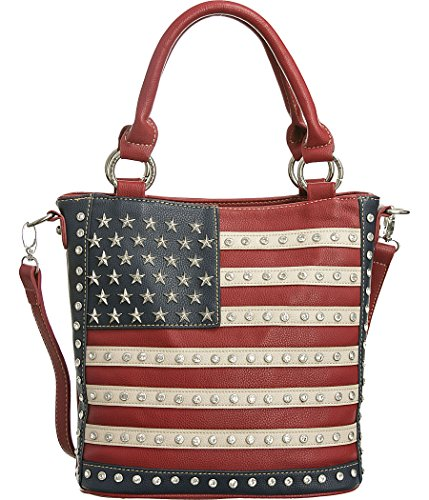 Montana West Abstract American Flag Red Conceal Handgun Carry Tote Bag