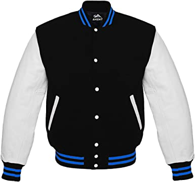 Varsity Baseball Bomber Letterman Jacket Black Wool /& Real Leather Sleeves