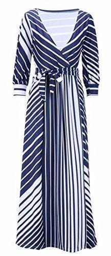V 1 Neck Stripe Womens Loose Dress Long Jaycargogo Irregular Fit HqRf5zwz