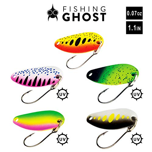 (FISHINGGHOST Spoon Set - Gallo, Weight: 0,07oz/pcs, Length: 1.1in, Trout Lures, Trout Spoons, Trout Fishing Trout, Trout baits for Trout, Char and Perch Fishing - Perfect for Spin Fishing (5X))