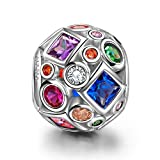 Ninaqueen 925 Sterling Silver Colorful Rainbow Openwork Charms Fit Pandora Bracelet