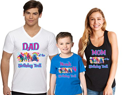 Go Custom Happy Birthday Boy Girl Family Matching Shirt Troll Design XL Adult ()