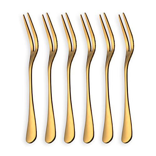 Gold 6 Pcs Stainless Steel Fruit Forks, Mini Salad Forks, Two Prong Fruit Forks, Dessert Cake Forks, Tasting Appetizer Forks (Shining Golden - Pack of 6) (Dessert Fork Stainless)