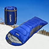 0 Degree Winter Sleeping Bag for camping (350GSM) -Temp Range (5F - 32F) Portable Waterproof with Compression Sack- Camping Sleeping Bags for Big and Tall in Env Hoodie:for Hiking backpacking 4 Season