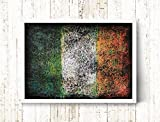Irish Flag, Hand-Painted Flag of Ireland, Distressed Flag, Vintage Wall Art, Mixed Media, Textured Art, Colorful, Rustic, Industrial Style