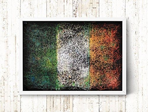 Irish Flag, Hand-Painted Flag of Ireland, Distressed Flag, Vintage Wall Art, Mixed Media, Textured Art, Colorful, Rustic, Industrial Style by ArtForLoft