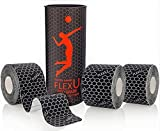FlexU Supreme Black Kinesiology Tape; Professional 3 Roll Pack; 60 Pre-Cut 10 Inch Strips; Hypoallergenic Longer Lasting Pro Grade; Therapeutic Recovery Athletic Wrap Tape
