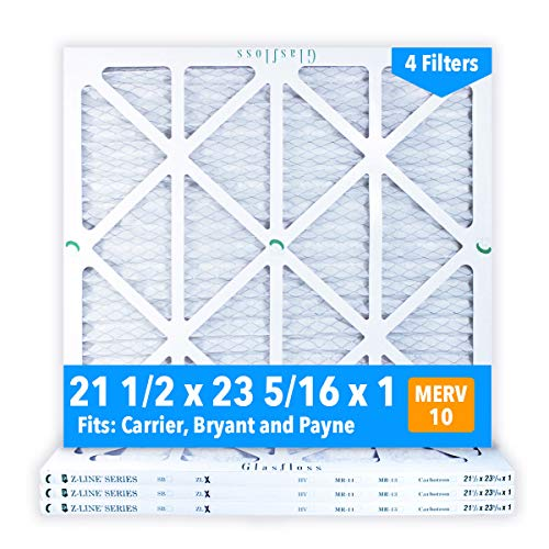 Glasfloss 21-1/2 x 23-5/16 x 1 MERV 10 Air Filters, Pleated, Made in USA (Case of 4) Fits Listed Models of Carrier, Bryant & Payne, Removes Dust, Pollen & Many Other Allergens. (Pleated Filter Air Case)