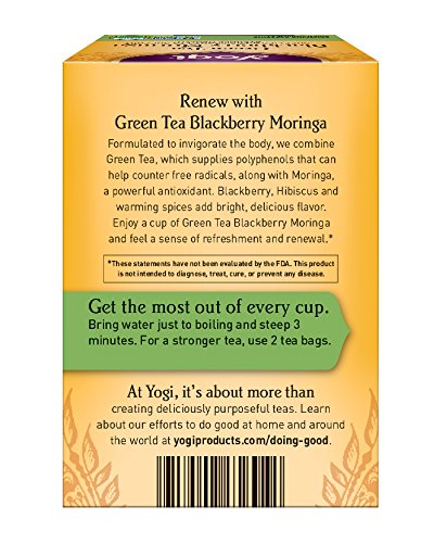 Yogi Tea, Blackberry Moringa Green Tea, 16 Count