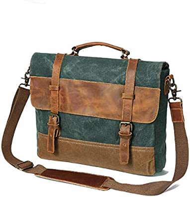 Men/'s Vintage Oil Wax Genuine Leather Briefcase Messenger Shoulder Bag Tote S
