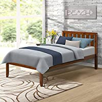 "Harper Bright Designs 12"" Deluxe Wood Platform Bed with Headboard/Wood Slat Support/No Box Spring Nedded Twin (Walnut.)"