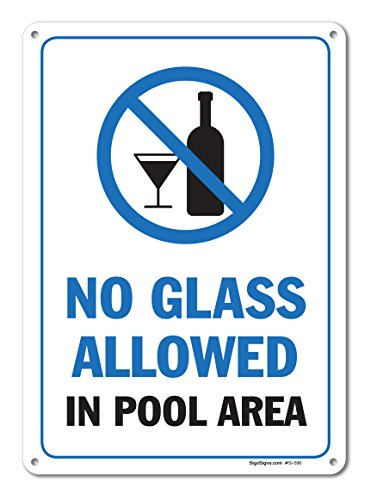 Pool Signs - No Glass Allowed in Pool Area Sign - Pool Rules - Large 10