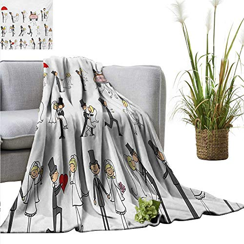 AndyTours Ultra Soft Flannel Blanket,Wedding,Wedding Themed Caricatures Funny and Happy Valentines Cartoon Style Celebration,Multicolor,Lightweight Microfiber,All Season for Couch or Bed -
