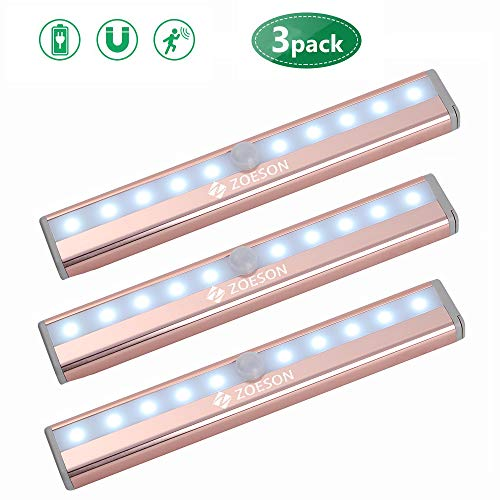 LED Under Cabinet Lighting, Zoeson Wireless Motion Sensor Light with Rechargeable Battery, Light Induction Magnetic Security Nightlight for Closet, Counter,Wardrobe,Stairway (Pink)