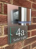 De-sign a plaque MODERN HOUSE SIGN PLAQUE DOOR NUMBER STREET GLASS ALUMINIUM EFFECT SOLAR LED 'PREMIUM'