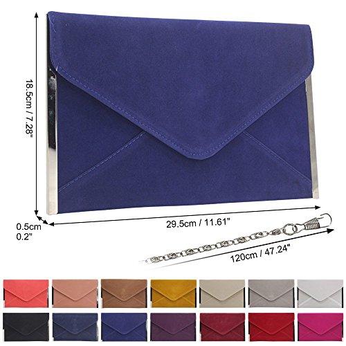 Clutch Bag Womens Wedding Party Velvet Bridesmaid Wocharm Blue Royal Purse Envelope Evening 7S1wxR