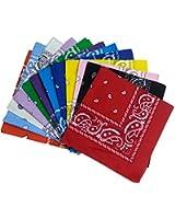 Paisley Bandanas Assorted Colors 12 Pack - Dozen Cotton Cowboy Bandana Scarf Funny Party Hats®