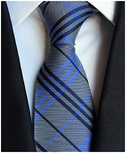 Abetteric Men's Stripes Printed Silk Jacquard Bussiness Formal Party Plaid Premium Tie Necktie AS3 OS
