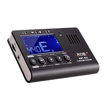 ZWWF Afinador Sintonizador Electrónico Metrónomo con Digital Pantalla Cromática y Batería para Guitarra, Bajo, Violín, Ukelele y Sintonización cromática ...