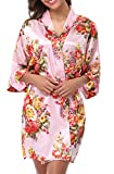 1stmall Floral Satin Kimono Short Style Bridesmaids Robes for Women Pink-S