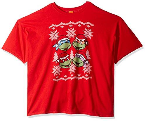 Nickelodeon - Playera de Navidad para Hombre, Talla Grande y Alta, árbol TMNT Ugly, Rojo, XXXXX-Large